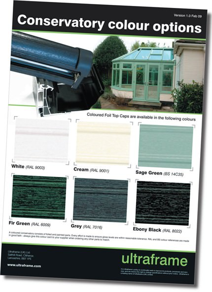 Swatch card for Ultraframe coloured foiled conservatory roofs