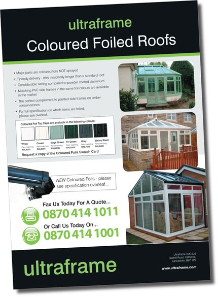 Trade flyer to support Ultraframe coloured foiled conservatory roofs