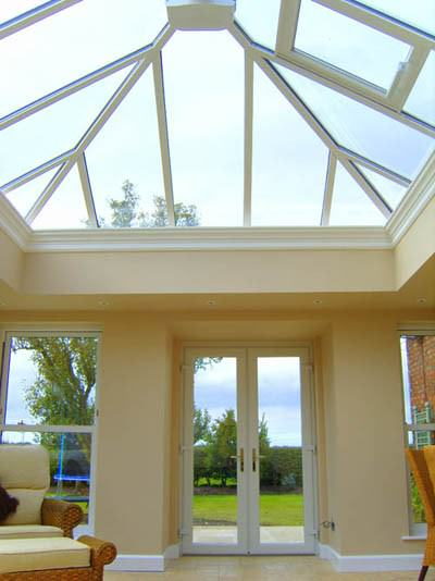 An installed Ultraframe Orangery conservatory featuring the Classic conservatory roof system