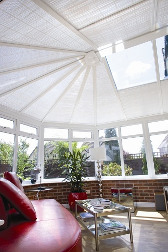 Ultraframe Classic plus conservatory with shades fitted
